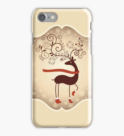 Elegant Reindeer Christmas Card - Happy Holidays iPhone Case/Skin