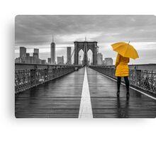 Tourist on Brooklyn bridge Canvas Print