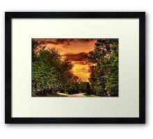 Forest Shadows Loom at Sunset Framed Print