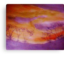 Sunset over some shrubs, watercolor Canvas Print