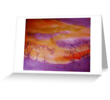 Sunset over some shrubs, watercolor Greeting Card