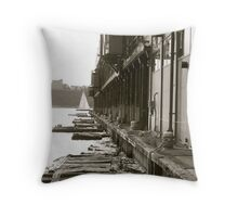 the dock on the Hudson... Throw Pillow
