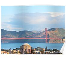 Palace Of Fine Arts and The Golden Gate Bridge Poster