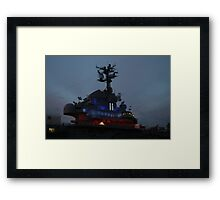 Airlcraft Carrier at sunset. Framed Print