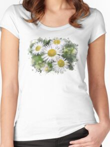 Daisy Watercolor Art Women's Fitted Scoop T-Shirt