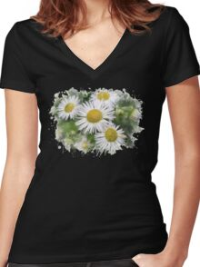 Daisy Watercolor Art Women's Fitted V-Neck T-Shirt