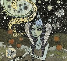 Moth Girl Singing to the Moon by Bethy Williams