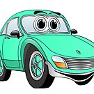 Aqua Sports Car Cartoon by Graphxpro