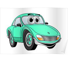 Aqua Sports Car Cartoon Poster