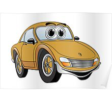 Brown Sports Car Cartoon Poster