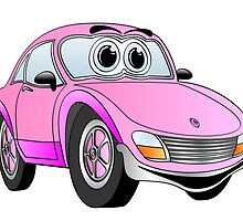 Pink Sports Car Cartoon by Graphxpro