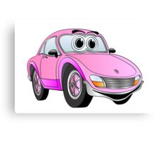 Pink Sports Car Cartoon Canvas Print