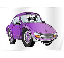 Purple Sports Car Cartoon Poster