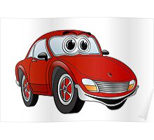 Red Sports Car Cartoon Poster