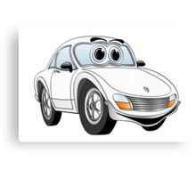 White Sports Car Cartoon Canvas Print