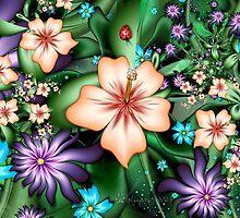 Hibiscus Garden with Ladybug by wolfepaw