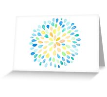 Dewdrops in Blue and Yellow Greeting Card