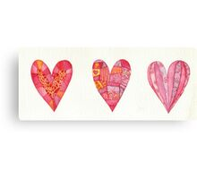 Three hearts Canvas Print