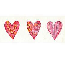 Three hearts Photographic Print