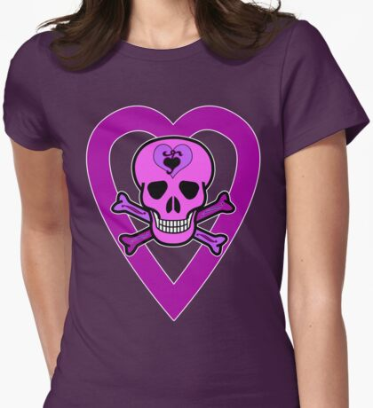 Punky Pink Skull #2 Womens Fitted T-Shirt