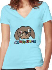 Comic Sans Women's Fitted V-Neck T-Shirt