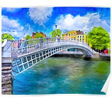 The Ha'Penny Bridge - Historic Dublin Ireland Landmark Poster