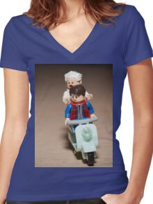 Marty and Doc Brown ride a Scooter Women's Fitted V-Neck T-Shirt