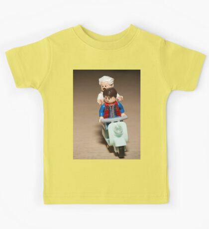 Marty and Doc Brown ride a Scooter Kids Tee