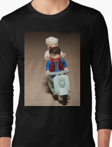 Marty and Doc Brown ride a Scooter Long Sleeve T-Shirt