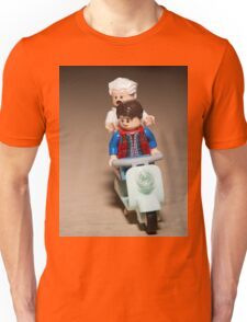 Marty and Doc Brown ride a Scooter Unisex T-Shirt