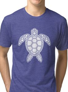 Green Sea Turtle Design - White Tri-blend T-Shirt
