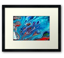Blue Abstract Fluid Painting Framed Print
