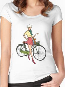 Agyness Deyn Cartoon Tshirt Women's Fitted Scoop T-Shirt