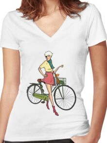 Agyness Deyn Cartoon Tshirt Women's Fitted V-Neck T-Shirt