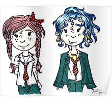 Two Little School Girls Poster