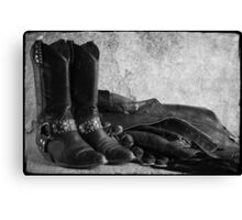 Black leather Canvas Print