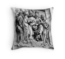 Church wall stone carving Throw Pillow