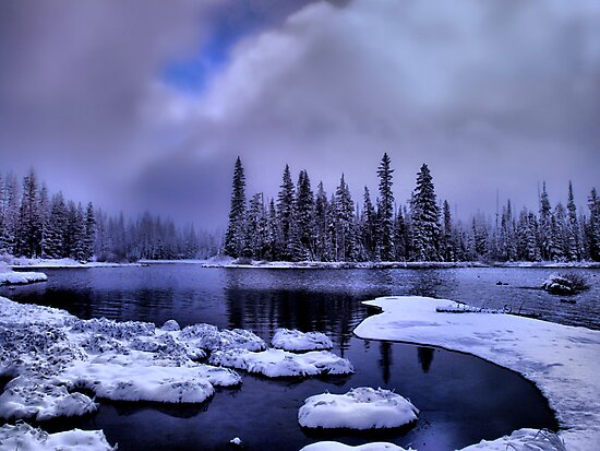 Cold Snow at Big Lake by Charles & Patricia   Harkins ~ Picture Oregon