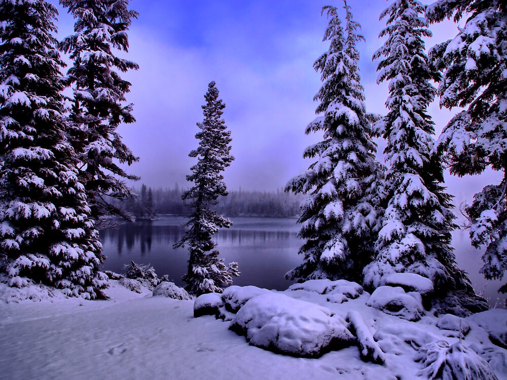 Big Lake Winters Day by Charles & Patricia   Harkins ~ Picture Oregon