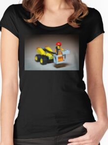 Lego Worker on Lift Construction Women's Fitted Scoop T-Shirt