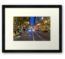 Busy Market Street Evening Framed Print