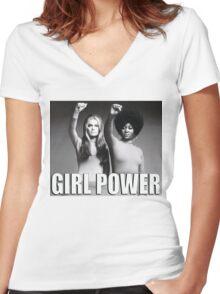 Girl Power Women's Fitted V-Neck T-Shirt