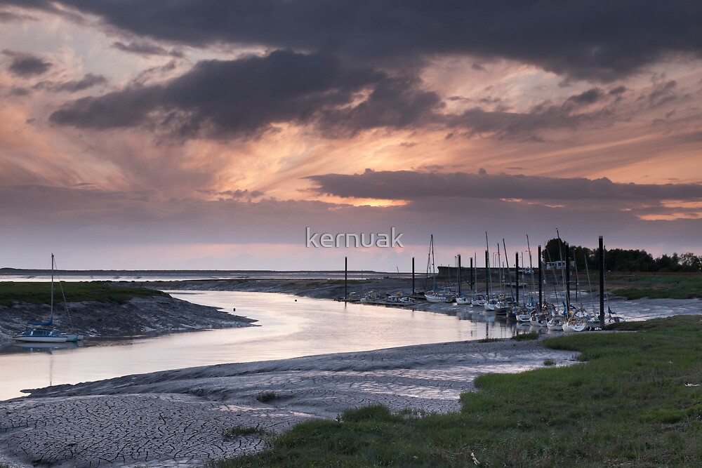 River Brue Sunset in Landscape by kernuak