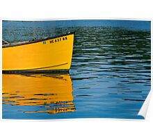 Boat Reflection, South Bristol, Maine Poster