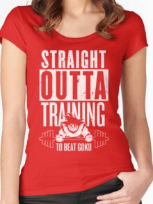 STRAIGHT OUTTA TRAINING TO BEAT GOKU Women's Fitted Scoop T-Shirt