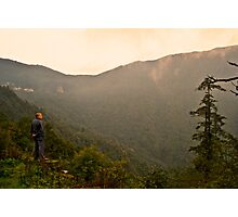 Buddhist Monk and Mother Nature Photographic Print