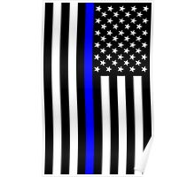The Symbolic Thin Blue Line on US Flag Poster