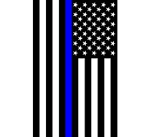 The Symbolic Thin Blue Line on US Flag Photographic Print
