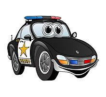 Sheriff Black and White Sports Car Photographic Print