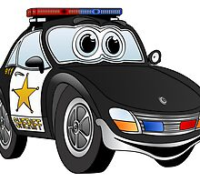 Black and White Sheriff Car by Graphxpro